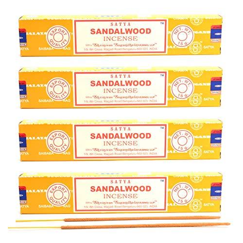 aqasha Satya Sandalwood | 48 Sticks | 20 cm | Brenndauer 40 min. | Räucher-Stäbchen-Set | Sandelholz & Masala Indische Gewürz-Mischung | Incense