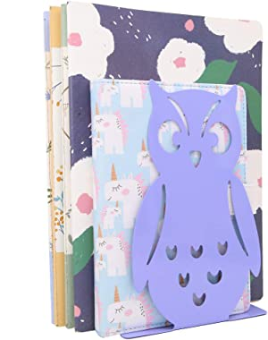 Winterworm 1 Pair Owl Bookends Non-Skid Cute Book Ends Art Book Ends for Home Shelves School Office (Purple)