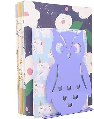 Winterworm 1 Pair Owl Bookends Non-Skid Cute Book Ends Art Book Ends for Home Shelves School Office (Purple)