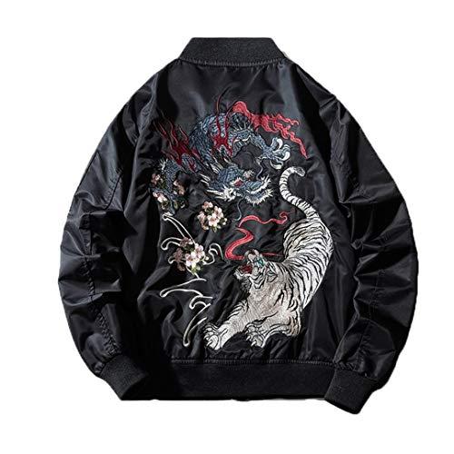 Mens Stickerei Bomberjacke Drache-Tiger-Herbst-Winter-Pilot Jacke Hip Hop japanischen Baseball-Jacke Street Black Thin XXXL