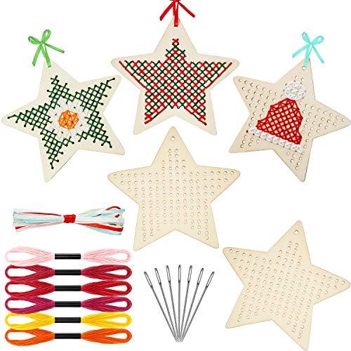 46 Piezas Kits de Punto de Cruz de Estrella, Incluye 12 Piezas Marcos de Costura de Estrellas de Madera, 12 Hilos de Bordar Punto de Cruz, 10 Agujas, 12 Cintas de Colores para Decoraciones Navidad