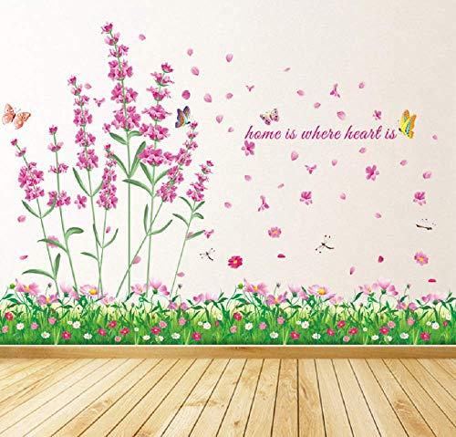 WandSticker4U®- Wandtattoo FELD der BLUMEN rosa I Wandbilder: 114x104cm I Wand-aufkleber Blumen-wiese grün Gräser Lavendel Kamille Libelle Blüten Bordüre I Deko für Wohnzimmer Kinderzimmer Flur