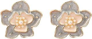 Channel V Vintage Black Rose Earrings Silver Stud for Women Black Blue Gray Flower Small Pearl Earring for Birthday Valent...