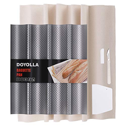 DOYOLLA French Baguette Bread Pan for Baking (4-loaf, Nonstick) + Bread Lame + Dough Scraper + Pastry Proofing Couche Dough Cloth for Professional & Home Bakers