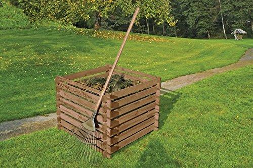 Gartenwelt Riegelsberger, contenitore per compostaggio in legno, 90x90x70 cm, in pino marrone, impregnato a pressione, con sistema a incastro in legno