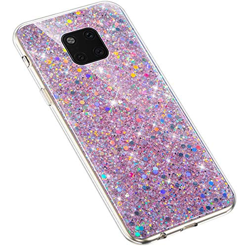 Uposao Huawei Mate 20 Pro Coque Glitter de, Bling Gliter Strass Paillettes Coque Transparent Cristal Scintilla Silicone TPU Souple Housse Etui de Protection Coque pour Huawei Mate 20 Pro,Rose