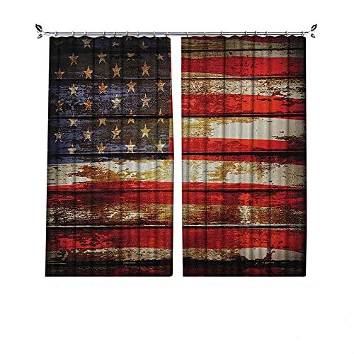 Cortinas plisadas con aislamiento térmico de la bandera americana, simbolismo de nosotros sobre tonos oxidados envejecidos vendimia, para travesaños y rieles, multicolor
