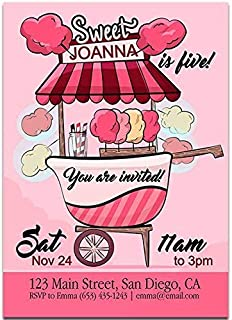 Cotton Candy Birthday Party Invitations