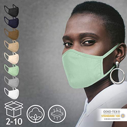 Jago® Gesichtsmaske – Waschbar, 2-lagig, Filterfach, aus Baumwolle, für Damen und Herren, 2/4/6/8/10er Set und Farbwahl – Community-Maske, Behelfsmaske, Alltagsmaske, Stoffmaske (4er, Neon Mint)