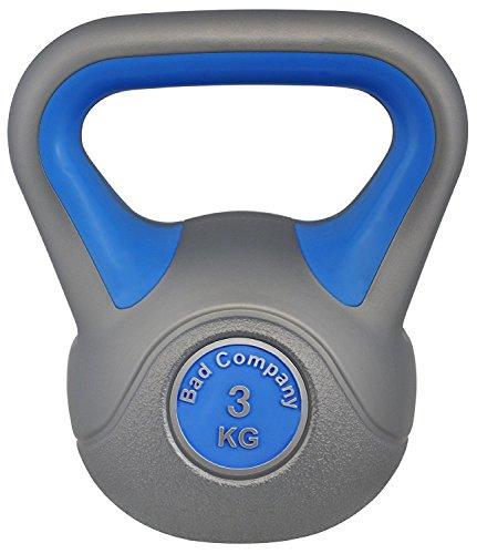 Bad Company Kettlebell als Set oder einzeln I Kunststoff Kugelhantel und Ablage-Rack I Schwunghantel Workout - Color Line I 3 kg