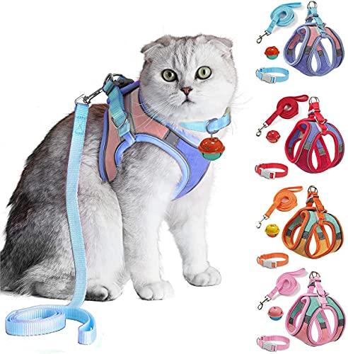 JSXD 고양이 하네스 리쉬 및 칼라 세트 걷기용 키튼 베스트 하네스 반사 스트랩이 있는 제어 용이한 밤 안전 애완견 하네스 작은 키튼용 벨 강아지용 피트 래빗