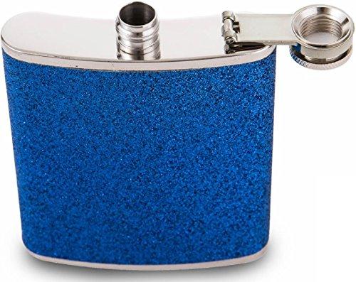 Fiaschetta in acciaio inox da 198,4 g, con glitter Wrap (blu)