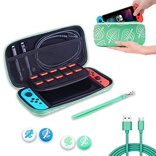 Carrying Case for Nintendo Switch, 3in1 Travel Carry Storage for Leaf Crossing NS, Switch Protective Case with 10 Game Card Slots for Girls Boys & Thumb Grip Caps/usb Cable for NS