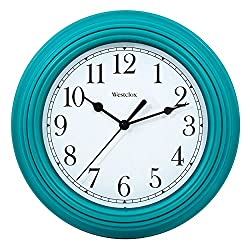Westclox Simplicity 9 inch Teal Wall Clock for Bedroom, Kitchen, Home Office and Living Room
