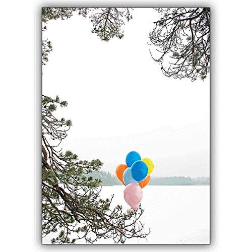 Wenskaarten met korting voor hoeveelheid: Verstuur een vrolijke winter verjaardagsgroet met ballonnen • mooie felicitatiekaart met envelop voor beste vrienden en lievelingsmensen. 16 Grußkarten