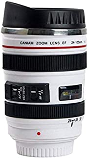 Sornean Camera Lens Coffee Mug Stainless Steel Insulated Tumbler Cup For Couples Creative Photographer Gifts (White)