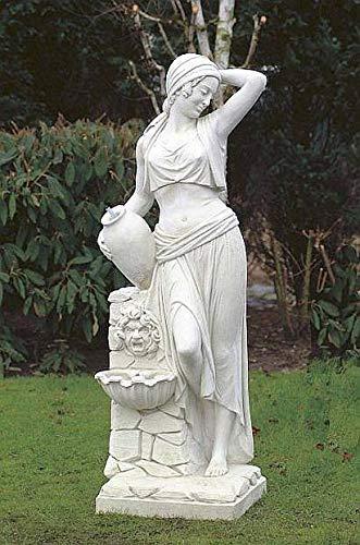 pompidu-living Mujer con Fuente de Pared, H 173,Figuras Piedra, Figura de Jardín...