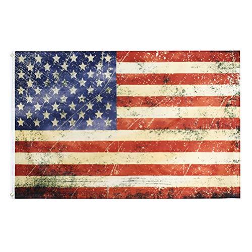 ABOOFAN 1Pc Amerikanische Flagge USA Vintage Distressed 3x5 Fuß Antiquierte Stars & Stripes Flagge Dekorative vertikale Bannerfahnen für Party Holiday Courtyard Home Decor ( Rot Weiß )