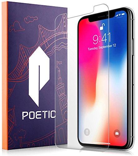 Protector de Pantalla Borde a Borde Poetic de Vidrio Templado para Apple iPhone X 2017 [Cobertura Total] [Claridad HD] [Compatible con Carcasas Protectoras] (Claro)