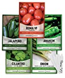 Heirloom Salsa Growing Seed Packets, Roma VF Tomato, Jalapeno, Cilantro, Anaheim and Onion Seeds for Garden Non GMO 5 Free Plant Markers Gardeners Basics