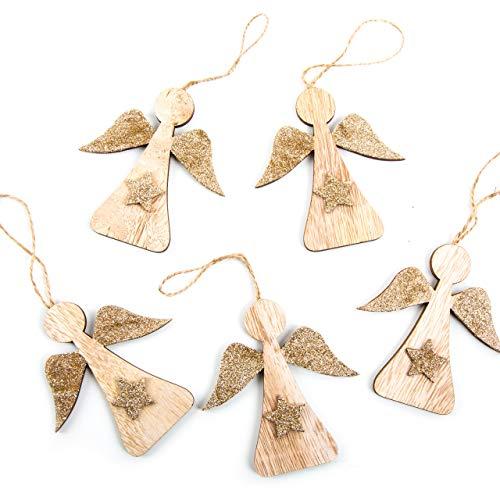 Logbuch-Verlag - Juego de 5 Adornos para árbol de Navidad, diseño de ángel de Madera, Color marrón y Dorado