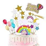 Cupcake Topper Set 27 Piezas Decoracion Tarta Arco Iris Toppers Tarta Cumpleaños Incluye Rainbow Cloud Moon Star Globo Forma Cupcake Topper para Fiesta de Cumpleaños Celebración de Aniversario (2)