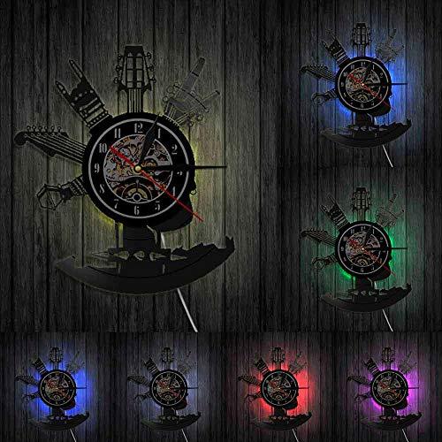 Reloj de pared con instrumentos musicales para guitarra, diseño de arte en casa, reloj de decoración personalizado