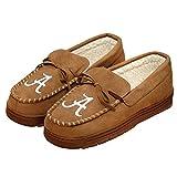 NCAA Alabama Crimson Tide Mens College Team Logo Moccasin Slippers Shoes, Tan, Medium (9-10)