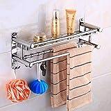 Toallero para baño, toallero, toallero, toallero, resistente, acero inoxidable, estante de baño de varias capas, estante de toalla montado en la pared, estante con ganchos, para baño, cocina