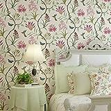 Papel pintado vintage floral sofá fondo pared que cubre papel pintado idílico para dormitorio beige
