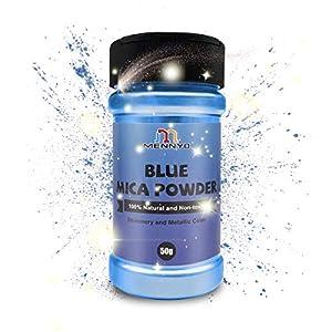 MENNYO Pigmento para Resina Epoxi, Colorante Jabones 50g Color Océano Azul Mica en Polvos Metálico Natural para Kit Hacer Velas, Fabrica Slime, Pintura, Sombra de Ojos, Maquillaje, Esmalte de Uñas