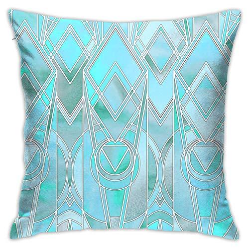 Funda de almohada, color turquesa iridiscente Art Deco grande funda de almohada moderna funda de cojín cuadrada decoración para sofá cama, silla coche 45,7 x 45,7 cm