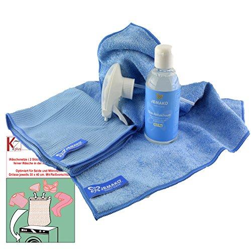Jemako Set blau mit Profituch & Trockentuch & 250ml Glas Aktivschaum & Schaumpumpe plus 2 x K7plus® Wäschenetze 30 x 40 cm