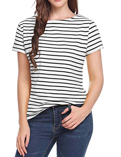 Women's Short Sleeve Striped T-Shirt Tee Shirt Tops Loose Fit Blouses (Medium, Stripe)