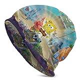 Hdadwy Spongebob Schwammkopf Erwachsene Herren Strickmütze Multifunktionale Leichte Casual Mütze Hut Schädelkappe Weiches Licht Atmungsaktive Unisex Hüte Schwarz