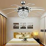 Ventilatore da soffitto in cristallo telecomando moderno Fly Invisible 8 Leaf Fan Light decorativo soggiorno ristorante Lampadario 42 pollici argento (220V)