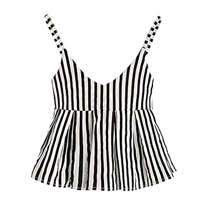 RAINED-Women's Round Neck Crop Tank Top Ruffle Trim Camis Striped Strap Crop Tops Backless Party Peplum Cami Top