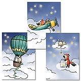 Rabano Art® Kinderbilder 3er Set - Fuchs und Hase -