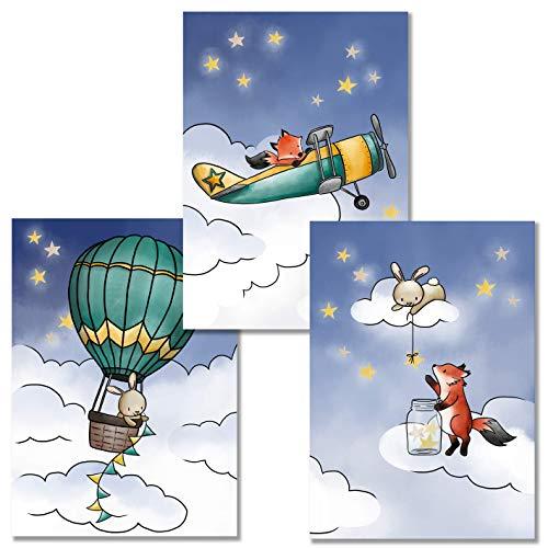 Rabano Art® Kinderbilder 3er Set - Fuchs und Hase - Kinderzimmer Deko Bilder DinA4 - Heissluftballon - Flugzeug - Wandbilder Babyzimmer - mit Geschenkumschlag