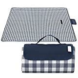 WAZATE Blue and White Gingham Picnic Blanket Camping Mat Outdoor Picnic Mat Foldable Travel Blanket Portable Tote
