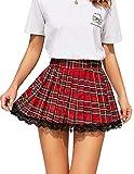 Avidlove Women's Casual High Waist Plaid A Line Pleated Mini Skater Skirt(Red, M)