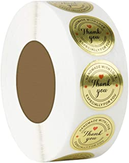 Fafellandi 500Pcs Round Gold Handmade With Love Thank You Stickers Packing Adhesive Label Seals Scrapbook DIY For Baking W...