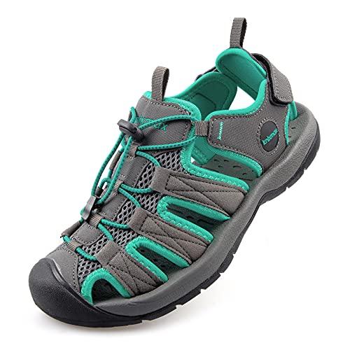 Knixmax Sandali Sportivi Estivi Uomo Donna Traspirante All'aperto Antiscivolo Escursionismo Scarpe da Trekking Passeggiata Arrampicata F-Green-38