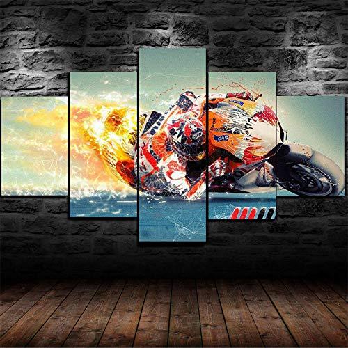 LIVELJ 5 Piezas Cuadros Modernos Puzzle,Cartel de Imagen HD,Decorativos modulares,Impresión en Lienzo de Arte,Decoraciones TC MotoGP Racing Tamaño Total: (H-55 cm x M/B-100 cm)