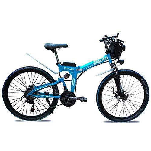QDWRF Bicicleta Eléctrica 2020 Bicicleta De Montaña Plegable, 36V 8Ah / 10AH / 15AH Batería De Litio Bicicleta Eléctrica Ebike con Motor Sin Escobillas De 500W Y 21 Marchas
