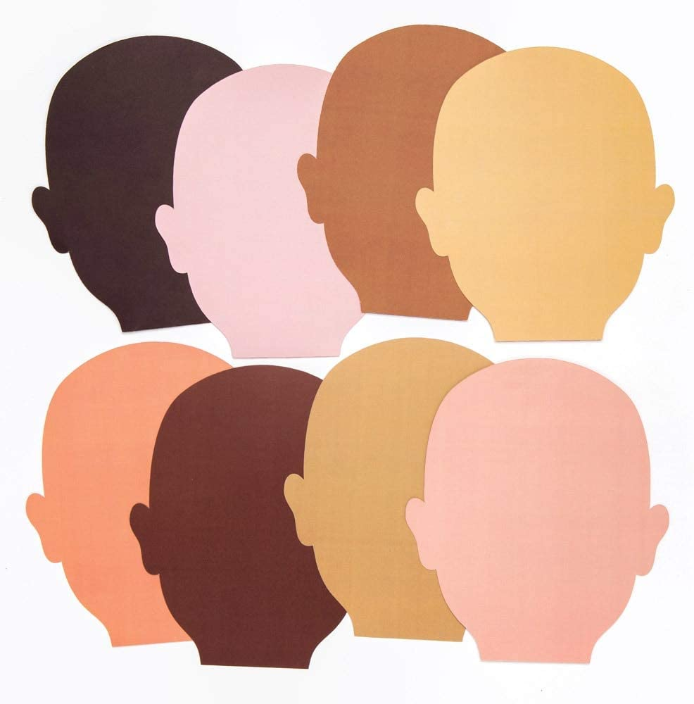 Baker Ross AW757 Skin Tone Face Cut Outs - Pack of 56, Perfect for Children to Design and Decorate, Assorted