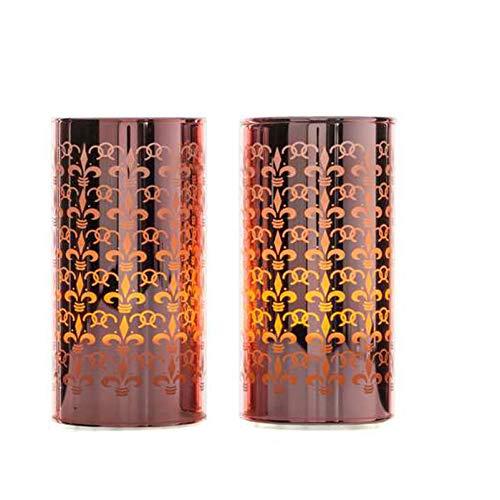 LED Glas Windlicht, 2er Set, Rosegold oder Silber Metallic, 14 cm, 6 Std. Timer, Kerze (Rosegold)