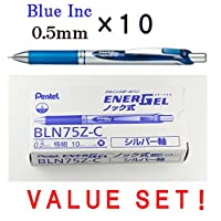 Pentel EnerGel Deluxe RTX格納式Liquid Gelペン, 0.5 MM , FINE LINE、ニードルtip-ブルーink-japaneseボックスof 10 ( with our shop original product description )