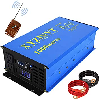 XYZ INVT 1000 watt Pure Sine Wave Power Inverter dc 12v to ac 120v with LED Display and Wireless Remote Controller  1000w 12v RC
