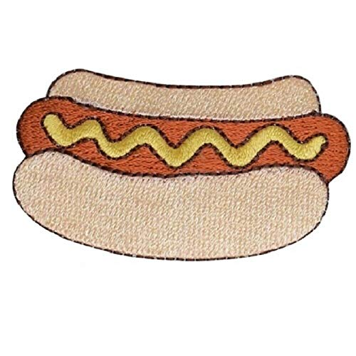 Original Design Patches Cool Patches Hot Dog Applique Patch - Mustard, Wiener, Bun, Food Badge 2.5' (Iron on) Fashion Drawings